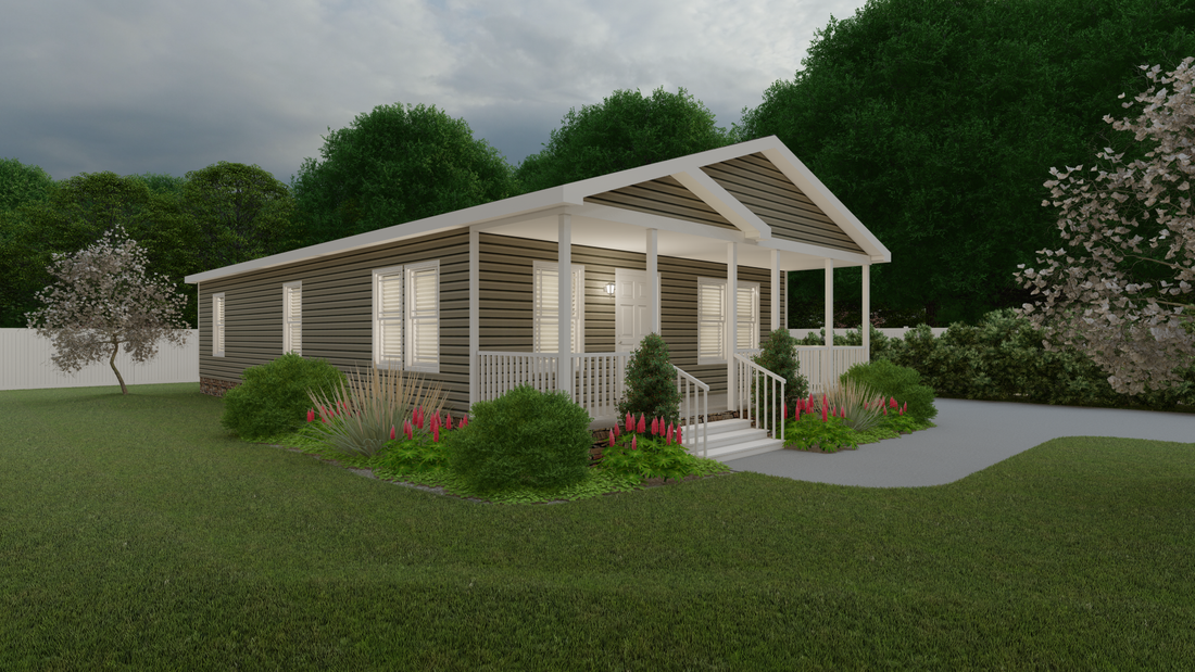 The OAKMONT Exterior. This Manufactured Mobile Home features 2 bedrooms and 2 baths.