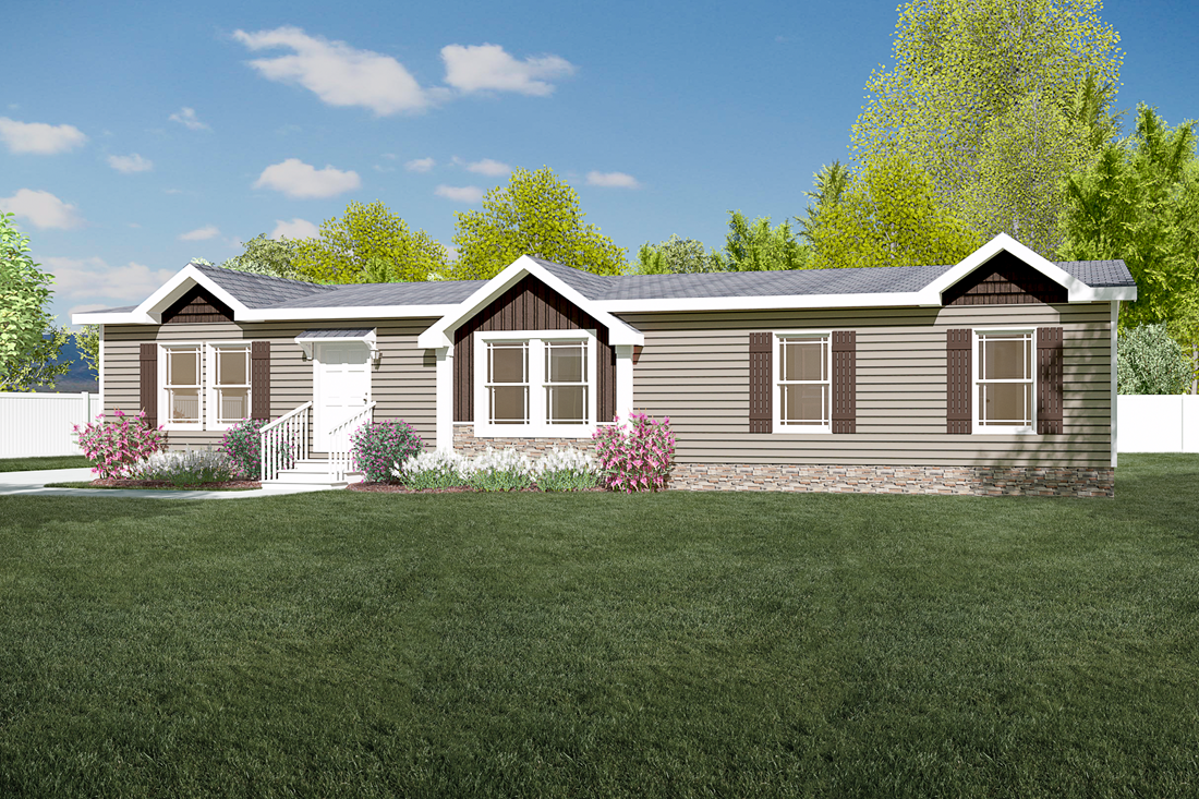 The CHEYENNE Exterior. This Manufactured Mobile Home features 3 bedrooms and 2 baths.