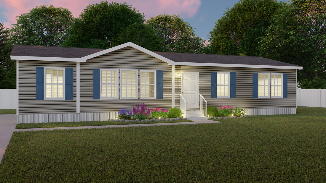 The MAVERICK 56A Exterior. This Manufactured Mobile Home features 3 bedrooms and 2 baths.