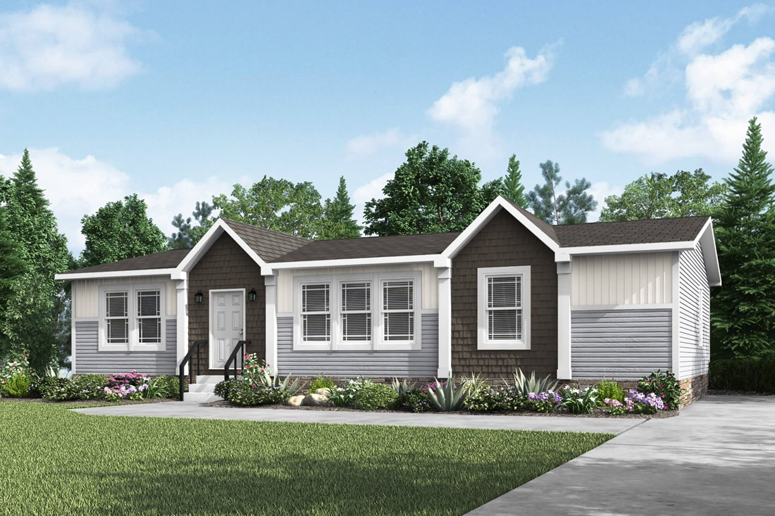 The PRAIRIE HOUSE Exterior. This Manufactured Mobile Home features 3 bedrooms and 2 baths.