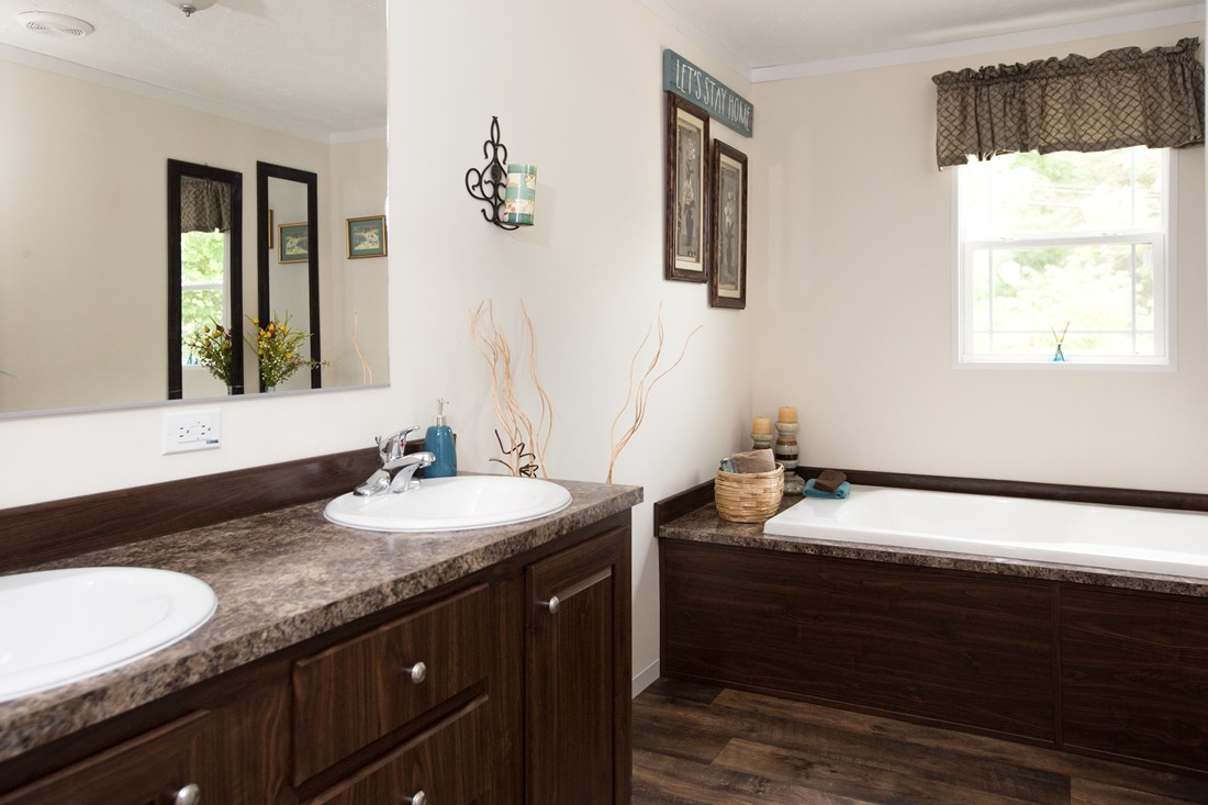 The RANGER 56B Master Bathroom. This Manufactured Mobile Home features 3 bedrooms and 2 baths.
