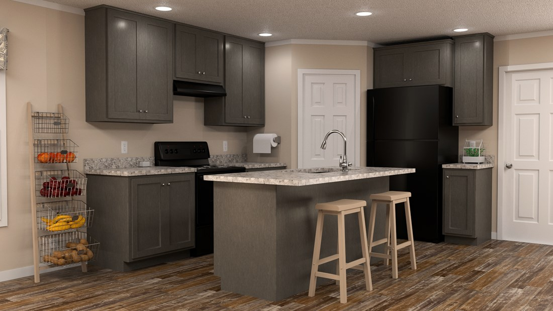The RANGER 48B Kitchen. This Manufactured Mobile Home features 3 bedrooms and 2 baths.