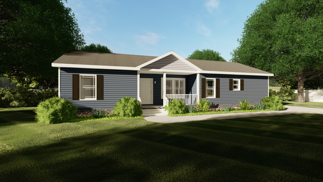 The CLASSIC 56G Exterior (MH Advantage). This Manufactured Mobile Home features 3 bedrooms and 2 baths.