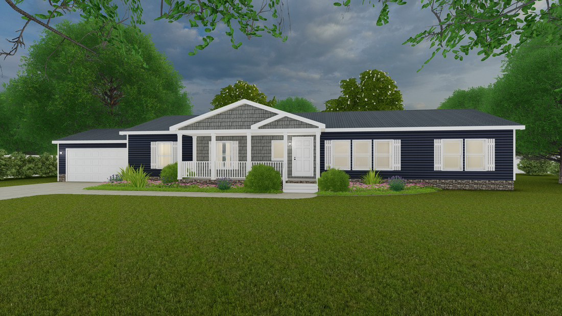 The COUNTRY AIRE Exterior. This Manufactured Mobile Home features 3 bedrooms and 3 baths.
