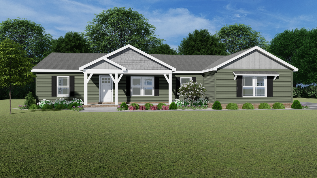 The HAWTHORNE Exterior. This Manufactured Mobile Home features 3 bedrooms and 2 baths.
